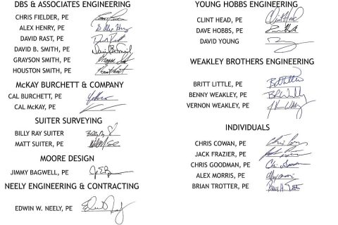 23 Local Engineers endorse Jeff Bryant for Montgomery County Highway Supervisor - Signatures