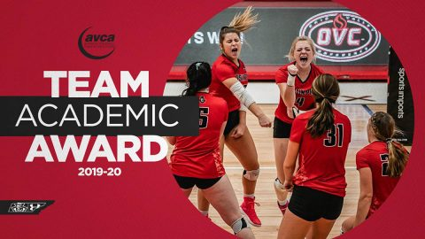 Austin Peay State University Volleyball and Beach Volleyball teams receive American Volleyball Coaches Association's Team Academic Award. (APSU Sports Information)