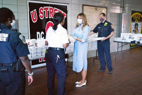 First Lady Melania Trump met with DC Fire EMS and DC Police Department members at Engine Company 9 fire station to drop off face masks, boxed lunches and other items to show here appreciation for their work to provide critical life-saving services to keep our local communities healthy, secure and safe. (White House)