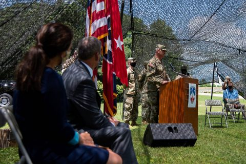 Maj. Gen. Jeff Holmes, Tennessee's Adjutant General, renders a salute to Sgt. 1st Class Patrick Shields during a ceremony in which Shields was presented with the Soldier's Medal in Brownsville on July 10. Shields stopped, disarmed and restrained a gunman after shots were fired in a parking lot following a high school football game in October 2018. (Sgt. Timothy Cordeiro)