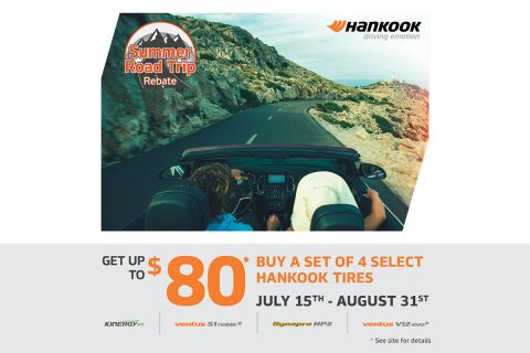 The Hankook Summer Road Trip rebate will offer consumers savings of up to $80.00 with the purchase of four of Hankook's popular ultra-high performance summer, all-season and touring tires from now until August 31st.