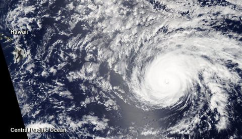 On July 24 at 12:30pm CT, the MODIS instrument aboard NASA's Aqua satellite provided a visible image of Hurricane Douglas as it continued on a track toward the Hawaiian Islands. The image showed a clear eye with a circular structure. (NASA Worldview, Earth Observing System Data and Information System (EOSDIS))