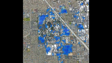 This preliminary map shows the slowdown of activity at Disneyland in California. Areas in blue indicate a reduction in vehicle concentration or movement as a result of COVID-19 pandemic response efforts. (NASA/JPL-Caltech/EOS at Nanyang Technological University)