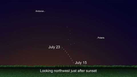 Skychart showing the location of Comet C/2020 F3 just after sunset, July 15th through 23rd. (NASA/JPL-Caltech)