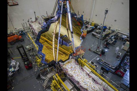 NASA's James Webb Space Telescope in the clean room at Northrop Grumman, Redondo Beach, California, in July 2020. (NASA/Chris Gunn)