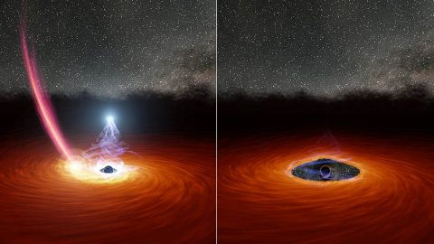 This illustration shows a black hole surrounded by a disk of gas. In the left panel, a streak of debris falls toward the disk. In the right panel, the debris has dispersed some of the gas, causing the corona (the ball of white light above the black hole) to disappear. (NASA/JPL Caltech)