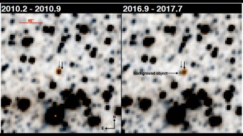 These images show the newly discovered brown dwarf WISE 1810 as seen with the WiseView tool. The object has an orange hue in these false-color images. In both images, a gray arrow on the left indicates the object's position in 2010; the black arrow on the right indicates its position in 2016. (Schneider et al. 2020)