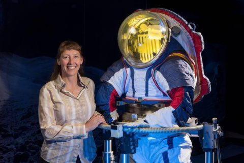 Advanced spacesuit designer Amy Ross of NASA's Johnson Space Center stands with the Z-2, a prototype spacesuit. (NASA)