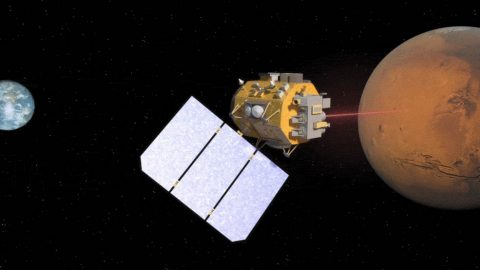 Illustration of a spacecraft using laser communications to relay data from Mars to Earth. (NASA's Goddard Space Flight Center)