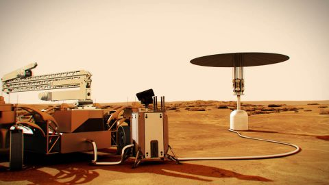 Illustration of a nuclear fission power system concept on Mars. (NASA)