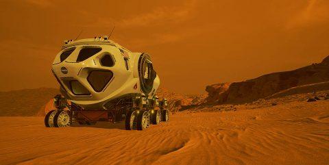 Illustration of a pressurized rover on Mars. (NASA)
