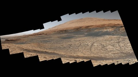 """Stitched together from 116 images, this view captured by NASA's Curiosity Mars rover shows the path it will take in the summer of 2020 as it drives toward the next region it will be investigating, the """"sulfate-bearing unit."""" (NASA/JPL-Caltech/MSSS)"""