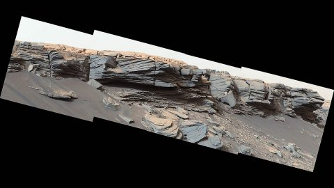 The goosebump-like textures in the center of this image were formed by water billions of years ago. NASA's Curiosity Mars rover discovered them as it crested the slope of the Greenheugh Pediment on February 24, 2020 (the 2685th Martian day, or sol, of the mission). (NASA/JPL-Caltech/MSSS)