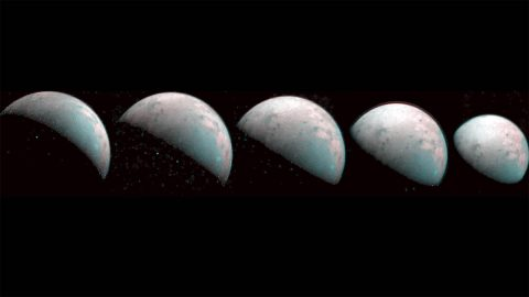 These images the JIRAM instrument aboard NASA's Juno spacecraft took on Dec. 26, 2019, provide the first infrared mapping of Ganymede's northern frontier. Frozen water molecules detected at both poles have no appreciable order to their arrangement and a different infrared signature than ice at the equator. (NASA/JPL-Caltech/SwRI/ASI/INAF/JIRAM)