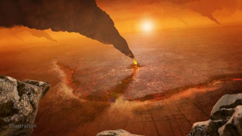 An artist's concept of active volcanos on Venus, depicting a subduction zone where the foreground crust plunges into the planet's interior at the topographic trench. (NASA/JPL-Caltech/Peter Rubin)