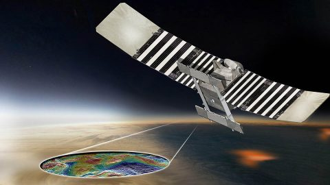 This artist's concept shows the proposed VERITAS spacecraft using its radar to produce high-resolution maps of Venus' topographic and geologic features. (NASA/JPL-Caltech)