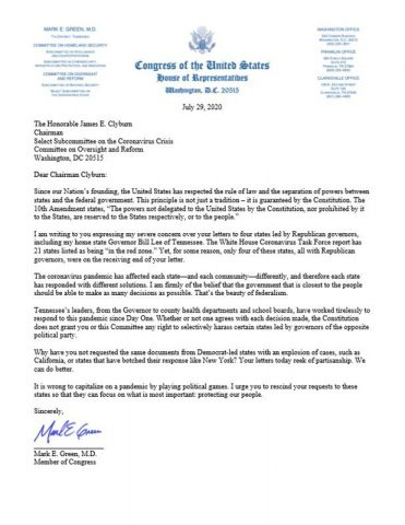 Representative Mark Green Letter to Whip Clyburn on Selective Harassment of Republican Governors