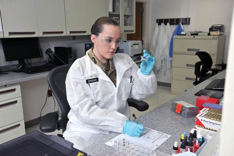 Spc. Breanna Brogan completed 10 weeks of Basic Combat Training and 52 weeks of Advanced Individual Training, including practice-testing specimens, before being assigned as a medical laboratory specialist at Blanchfield Army Community Hospital on Fort Campbell. Her career specialty is one of many health care professions the Army will pay eligible candidates to learn. Learn more at GoArmy.com . (U.S. Army)