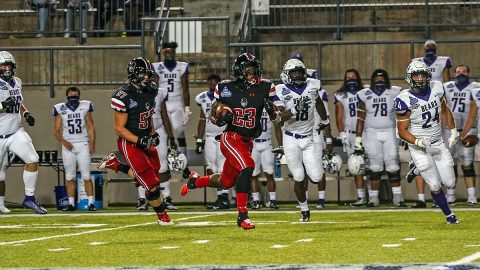 Austin Peay State University freshman running back C.J. Evans Jr. runs 75 yards die for a touchdown against Central Arkansas Saturday night. (APSU Sports Information)