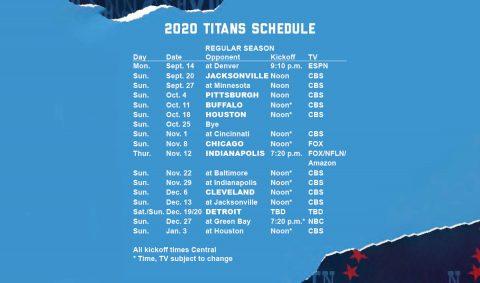 2020 Tennessee Titans Schedule