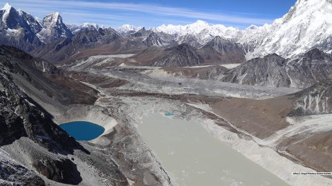 Lake Imja near Mount Everest in the Himalaya is a glacier lake that has grown to three times its length since 1990. (Planetary Science Institute/Jeffrey S. Kargel)