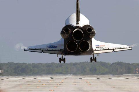 Space shuttle Atlantis nears touchdown on Runway 33 at the Shuttle Landing Facility at NASA's Kennedy Space Center in Florida. (NASA/Tony Gray/Tom Farrar)