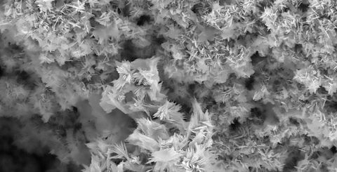 Nanoparticles of a car engine lubricant seen under an electron microscope. The particles' sticky side builds up layers until there isn't any more friction. (TriboTEX)