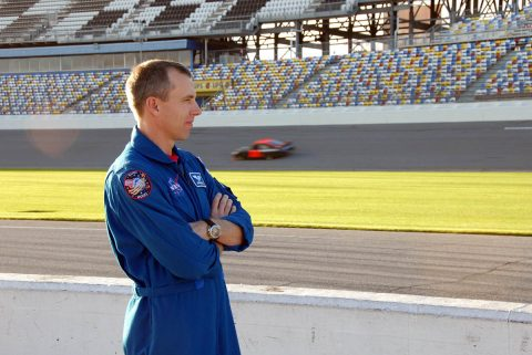 Astronaut Andrew Feustel watched cars on the Daytona International Speedway in 2008. (NASA)