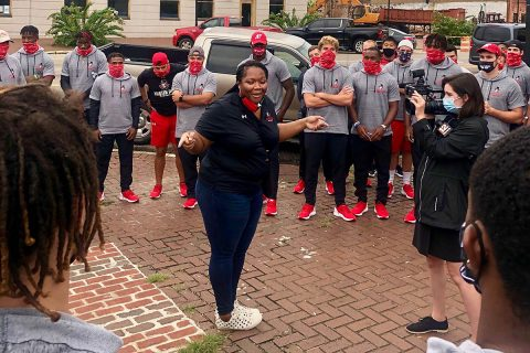 Austin Peay State University Interim President Dannelle Whiteside talks to the team. (APSU)
