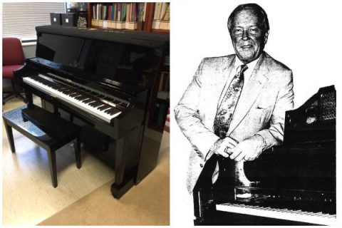 Larry Martin ('67) and his Steinway piano. (APSU)