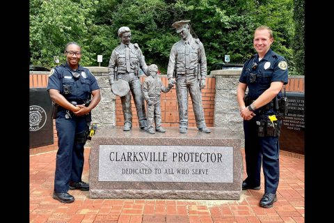 Clarksville Police Officers (L to R) Arian Prather and Bryan Hughes.