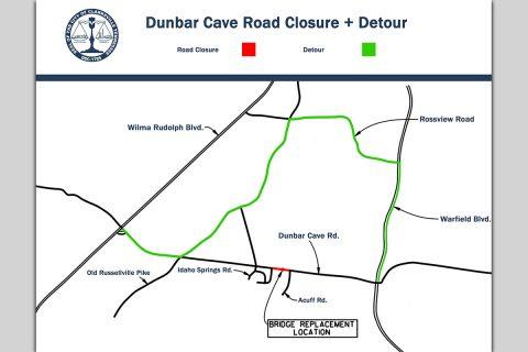 Dunbar Cave Road Closure and Detour Map