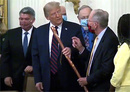"Lamar Alexander attended the White House signing ceremony today where he presented President Donald Trump with a ""mountain man"" walking stick to thank the president for his support of the legislation. The walking stick was made by a Smoky Mountain craftsman and was given to Alexander during his walk across the state when he campaigned for governor in 1978."
