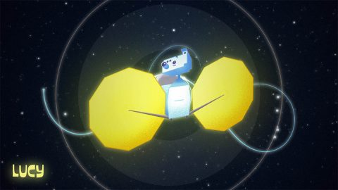 NASA's Lucy spacecraft poses in front of the orbit trajectory for her 12-year mission to study the Trojan Asteroids. Lucy will be featured in her own cartoon series coming soon. (NASA's Goddard Space Flight Center)