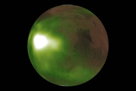 "This is an image of the ultraviolet ""nightglow"" in the Martian atmosphere. Green and white false colors represent the intensity of ultraviolet light, with white being the brightest. The nightglow was measured at about 70 kilometers (approximately 40 miles) altitude by the Imaging UltraViolet Spectrograph instrument on NASA's MAVEN spacecraft. (NASA/MAVEN/Goddard Space Flight Center/CU/LASP)"