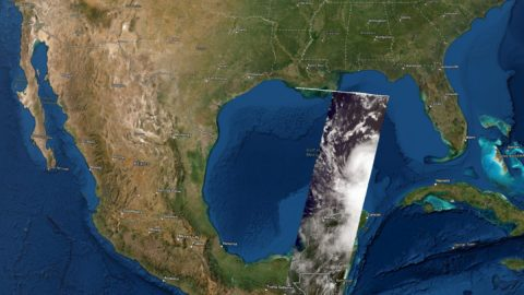 A still image of a 3D visualization of the cloud tops of what would become Hurricane Laura, as seen on Aug. 25, 2020, by the MISR instrument aboard NASA's Terra satellite. (NASA Disasters Program, Esri)