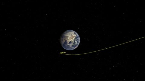 This illustration shows asteroid 2020 QG's trajectory bending during its close approach to Earth. The asteroid is the closest known nonimpacting asteroid ever detected. (NASA/JPL-Caltech)