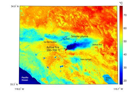 This ECOSTRESS temperature map shows the region surrounding the Apple fire that was raging in Southern California on August 1st, 2020. (NASA/JPL-Caltech)