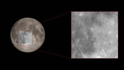 This ground-based telescopic image of the Moon highlights the general region where astronomers used NASA's Hubble Space Telescope to measure the amount of ozone in Earth's atmosphere. This method serves as a proxy for how they will observe Earth-like planets around other stars in search of life. (M. Kornmesser (ESA/Hubble), NASA, and ESA)