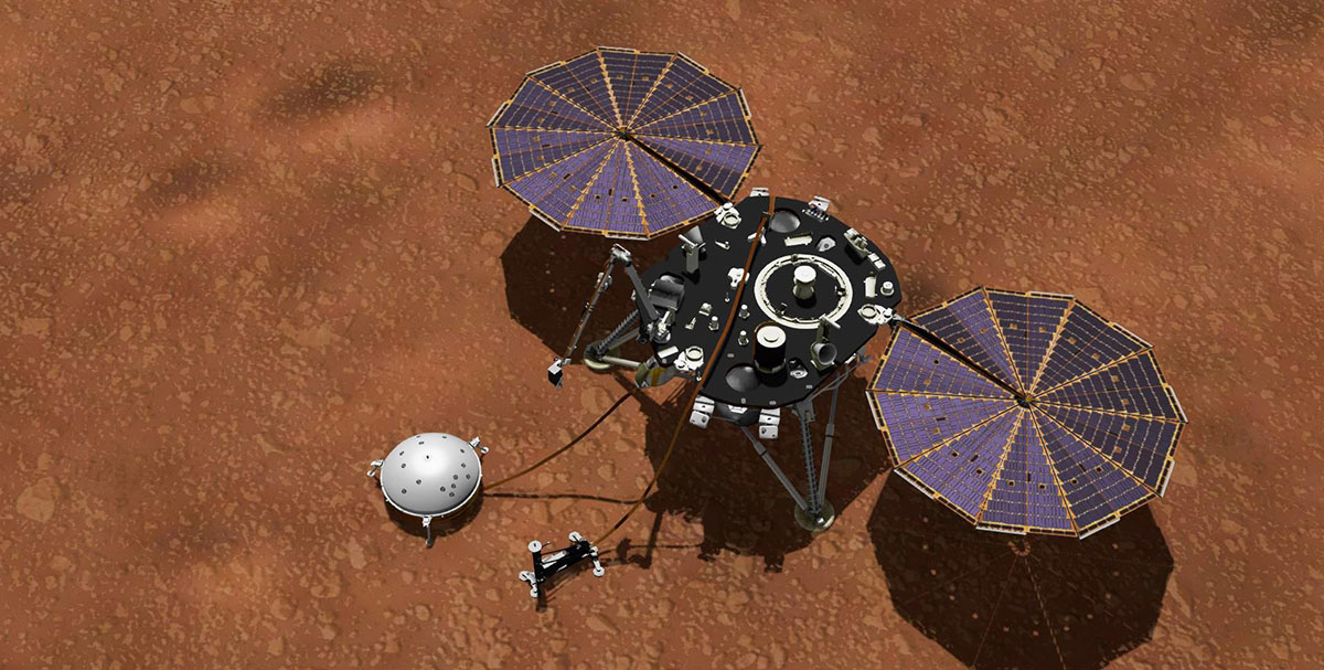 Among InSight's instruments is the Auxiliary Payload Sensor Suite (APSS), which collects data on wind speed and direction, air temperature and pressure, and magnetic fields. (NASA)