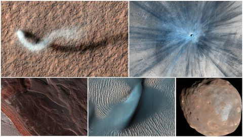 Five images taken by the HiRISE camera aboard NASA's Mars Reconnaissance Orbiter, which launched 15 years ago, on Aug. 12, 2005. Along with being a rich source of images for research, MRO studies atmospheric temperatures, peers underground with radar, and detects minerals on the planet's surface. (NASA/JPL-Caltech/University of Arizona)