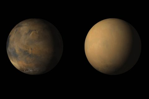 Side-by-side movies shows how dust has enveloped the Red Planet, courtesy of the Mars Color Imager (MARCI) camera onboard NASA's Mars Reconnaissance Orbiter (MRO). (NASA/JPL-Caltech/MSSS)