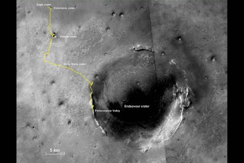 This final traverse map for NASA's Opportunity rover shows where the rover was located within Perseverance Valley on June 10th, 2018, the last date it made contact with its engineering team. (NASA/JPL-Caltech/MSSS)