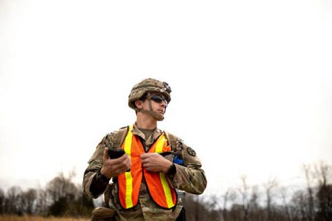 A Soldier with 2nd Squadron, 278th Armored Cavalry Regiment, uses a communication device operating on FirstNet, March 5, while conducting search and rescue operations in Cookeville. The Tennessee National Guard was activated to aid local communities that were affected by tornadoes that ravaged central Tennessee overnight, March 2nd. (U.S. Army Sgt. Art Guzman)