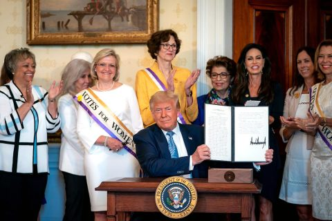 President Donald Trump signs a Proclamation on the 100th Anniversary of the ratification of the 19th Amendment. (White House)