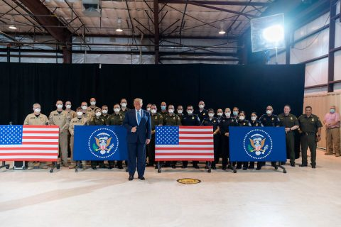 President Donald Trump with U.S. Customs and Border Protection officers in Yuma, Arizona. (White House)
