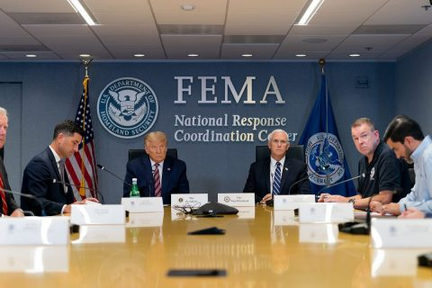 President Donald Trump and Vice President Mike Pence are briefed on Hurricane Laura at FEMA Headquarters. (White House)