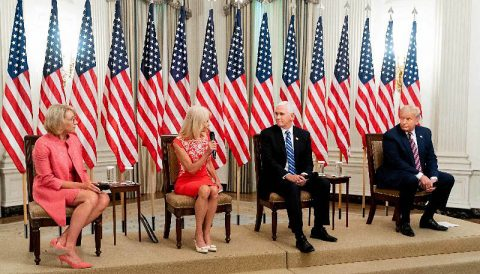President Donald Trump and Vice President Mike Pence listen as Counselor to the President Kellyanne Conway delivers remarks during a discussion on safely reopening schools. (White House)