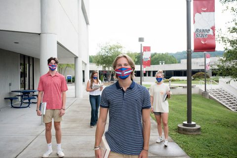 Students arrive at Roane State Community College for their first day of classes.
