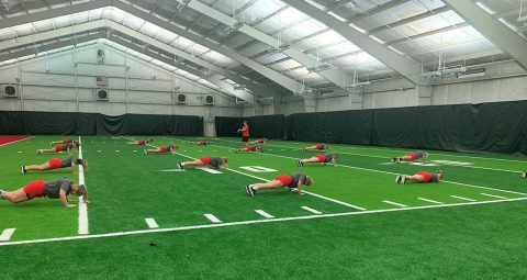 Austin Peay State University Softball team at the Indoor Training Facility. (APSU Sports Information)